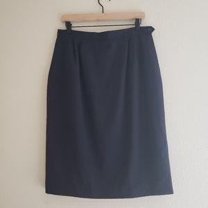 Vintage Navy Wool Pencil Skirt